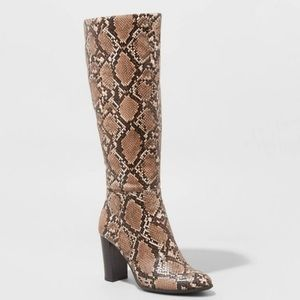 A New Day Taupe Faux Snake Skin Boots Size 11